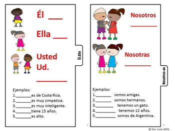 Spanish Subject pronouns Interactive notebook tab book