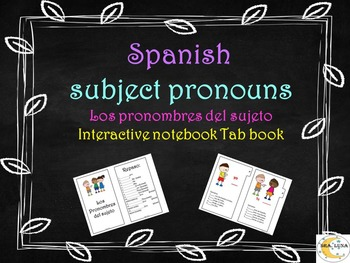 Spanish Subject pronouns Interactive notebook tab book