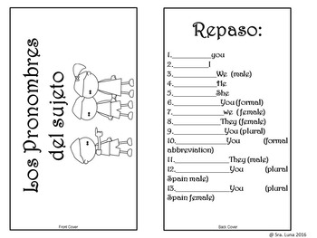 Spanish Subject pronouns Interactive notebook tab book Black and white