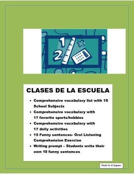 Spanish Subjects - Las Clases de La Escuela - Me Gusta Fun