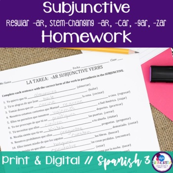 Spanish Subjunctive -AR verbs Homework