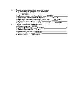 Spanish Subjunctive Adjective Clauses Exam