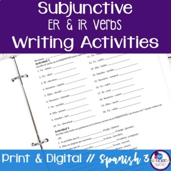 Spanish Subjunctive -ER and -IR Verbs Writing Exercises