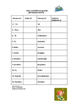 Spanish Subjunctive Game - Roll and Write - Juego con el subjuntivo