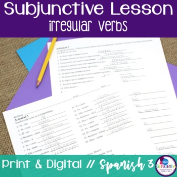 Spanish Subjunctive Irregular Verbs Lesson