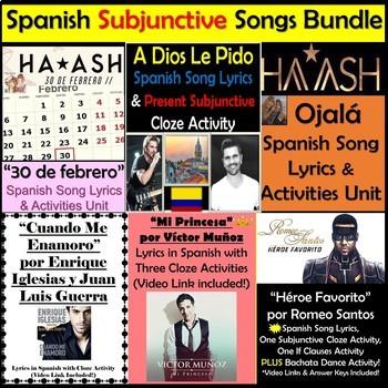 Spanish Subjunctive Song Lyrics & Activities Bundle - Subjuntivo