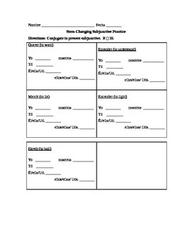 Spanish Subjunctive Stem-changers Practice Worksheets Pack