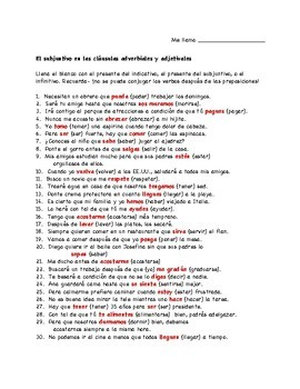 Spanish Subjunctive Worksheet: Adverbial Clauses/Time Conjunctions