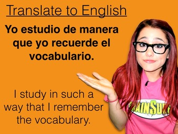 Spanish Subjunctive after Conjunctions PowerPoint Slideshow