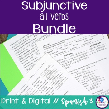 Spanish Subjunctive all verbs with WEIRDO bundle