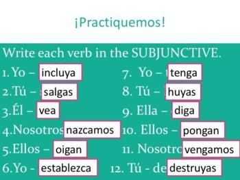 Spanish Subjunctive Irregular yo Verbs Powerpoint & Notes
