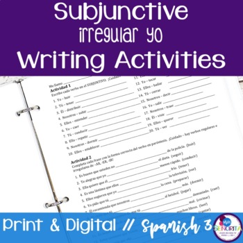 Spanish Subjunctive Irregular Yo Verbs Writing Exercises By Miss