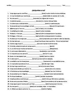 Spanish Subjunctive practice worksheet, subjunctive w/ doubt, adjective clauses