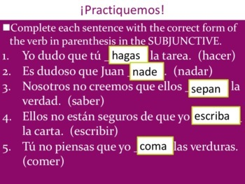 Spanish Subjunctive vs Indicative Powerpoint & Notes
