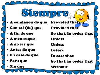 Spanish Subjunctive with Adverbial Clauses Bulletin Board Set