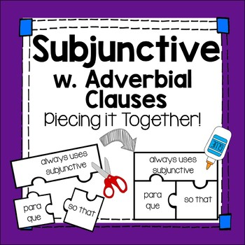 Spanish Subjunctive with Adverbial Clauses Interactive Practice Manipulative