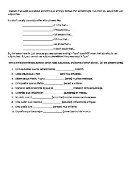 Spanish Subjunctive with Doubt, Subjunctive with Adjective Clauses Notes Sheet