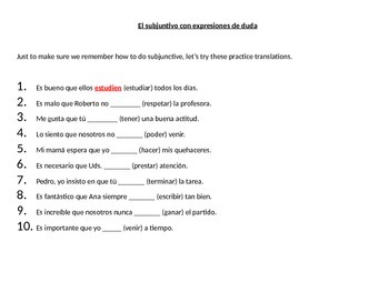 Spanish Subjunctive with Doubt, Subjunctive with Adjective