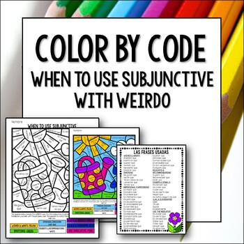 Spanish Subjunctive with WEIRDO Color by Code Lesson Fun Activity