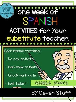 Spanish Substitute Activities. 1 week of Sub activities for Spanish class.