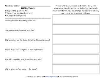 Spanish Substitute Activities Bundle #4: Storyboards for Spanish 1
