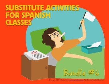 Spanish Substitute Activities Bundle #6: Storyboards for S