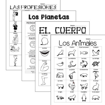 Spanish - Substitute Plan Bundle (Animals, Body, Professions, Planets)
