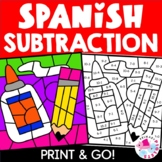Spanish Subtraction Color by Number Back to School Set 1