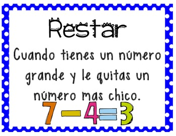 Spanish Subtraction Posters