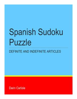 Spanish Sudoku - Definite & Indefinite Articles ~NO PREP Sudoku Puzzle