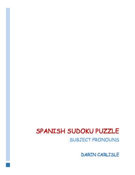 Spanish Sudoku Puzzle - subject pronoun activity ~Spanish