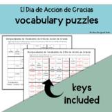 Spanish Word Puzzles: Thanksgiving, El Dia de Accion de Gracias Vocabulary!