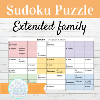 Spanish Sudoku activity for family relationship vocab; for Expresate 3, cap 4