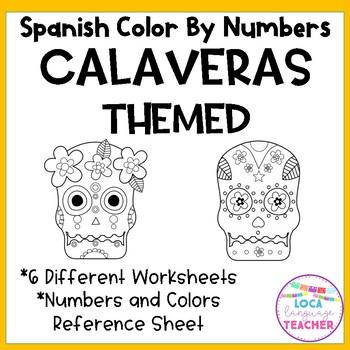 Spanish Sugar Skulls Color by Number Día de los Muertos