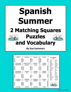 Spanish Summer 2 Matching Squares Puzzles 4 x 4