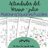 Spanish Summer / Activities / July Matching Vocabulary Puzzles!