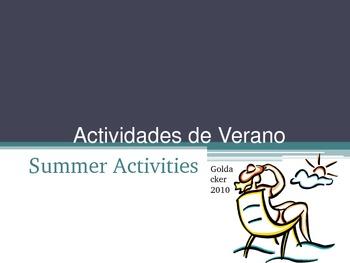 Spanish - Summer Activities and Vocabulary PowerPoint