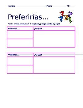 Spanish Summer Activity- Conditional Tense