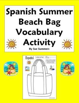 Spanish Summer Beach Bag Sketch and Label Vocabulary Activity