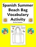 Spanish Spring Break / Summer Beach Bag Sketch and Label Vocabulary Activity