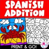 Spanish Summer Color by Number Addition Set