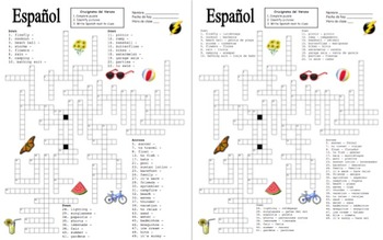 Spanish Summer Crossword Puzzle Worksheet and Vocabulary
