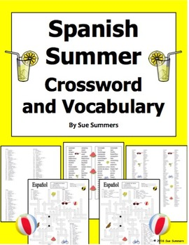 image regarding Summer Crossword Puzzle Printable named Spanish Summer months Crossword Puzzle Worksheet and Vocabulary by way of