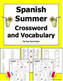 Spanish Summer Crossword Puzzle and Vocabulary - Spanish D
