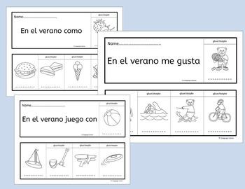 Spanish Summer Flip Books and Vocabulary Worksheets