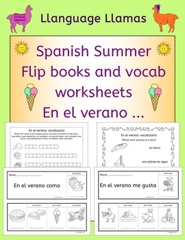 Spanish Summer Flip Books and Vocabulary Worksheets