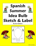 Spanish Summer Idea Bulb Sketch and Label Vocabulary Activity