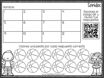 Spanish: Summer Letter Sound QR Code Station