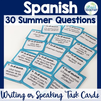 Spanish Task Cards Summer Questions
