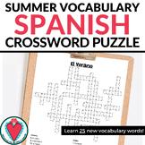 Spanish Summer Vocabulary Crossword Puzzle